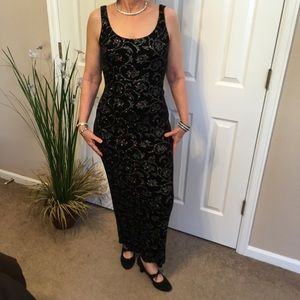 Long Black Sleeveless Glitter Dress, Size S M L